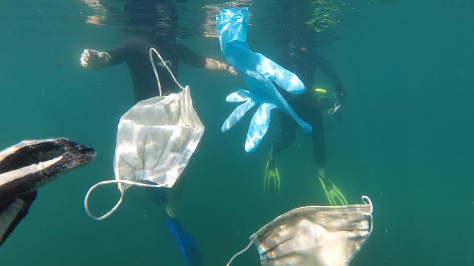 海に漂うマスクと手袋